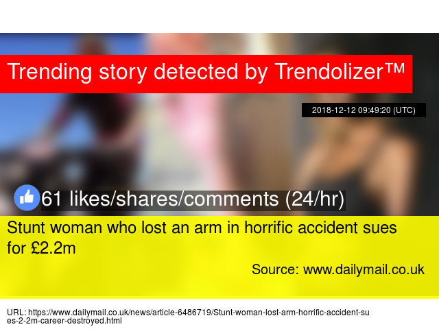 Stunt woman who lost an arm in horrific accident sues for £2 2m