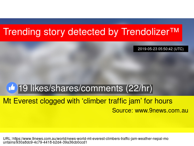 Mt Everest clogged with 'climber traffic jam' for hours