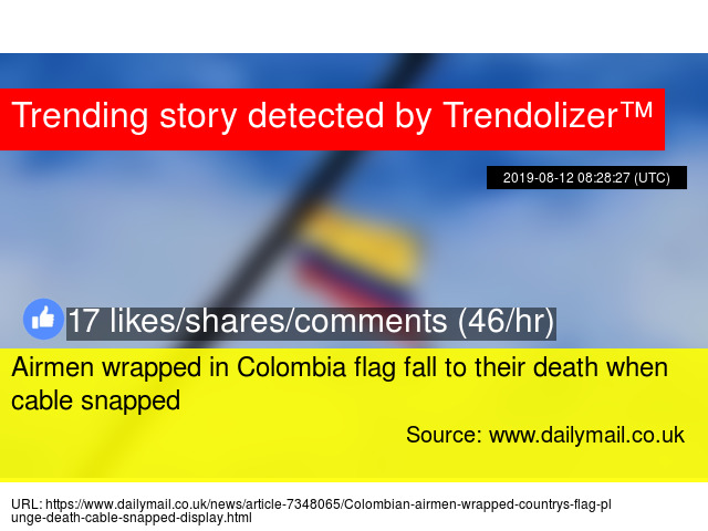 Airmen wrapped in Colombia flag fall to their death when