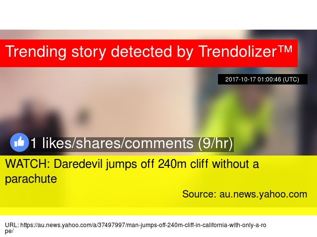 WATCH: Daredevil jumps off 240m cliff without a parachute