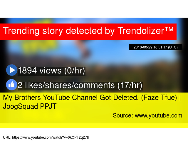 My Brothers YouTube Channel Got Deleted  (Faze Tfue